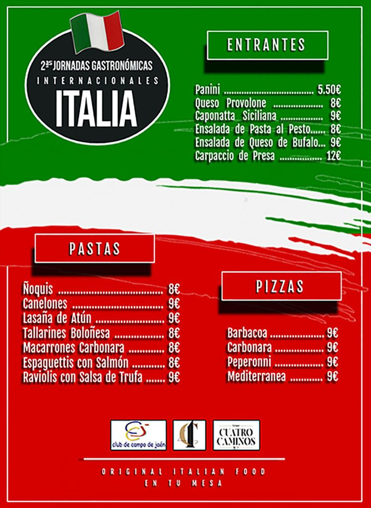 Jornadas gastronómicas italianas club campo jaén