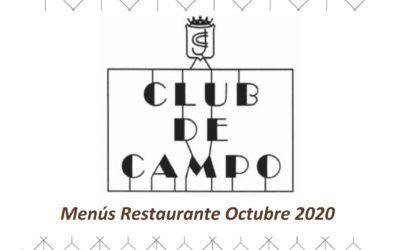 Menús Octubre 2020 del Restaurante del Club de Campo de Jaén