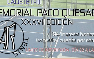 XXXVII Memorial Paco Quesada de Tenis